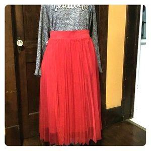 Torrid red mesh midi skirt